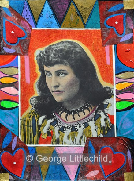 Small Painting, Lady with a HEART, Pauline E. Johnson, Poet